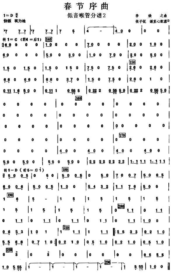 春节序曲之低音喉管分谱
