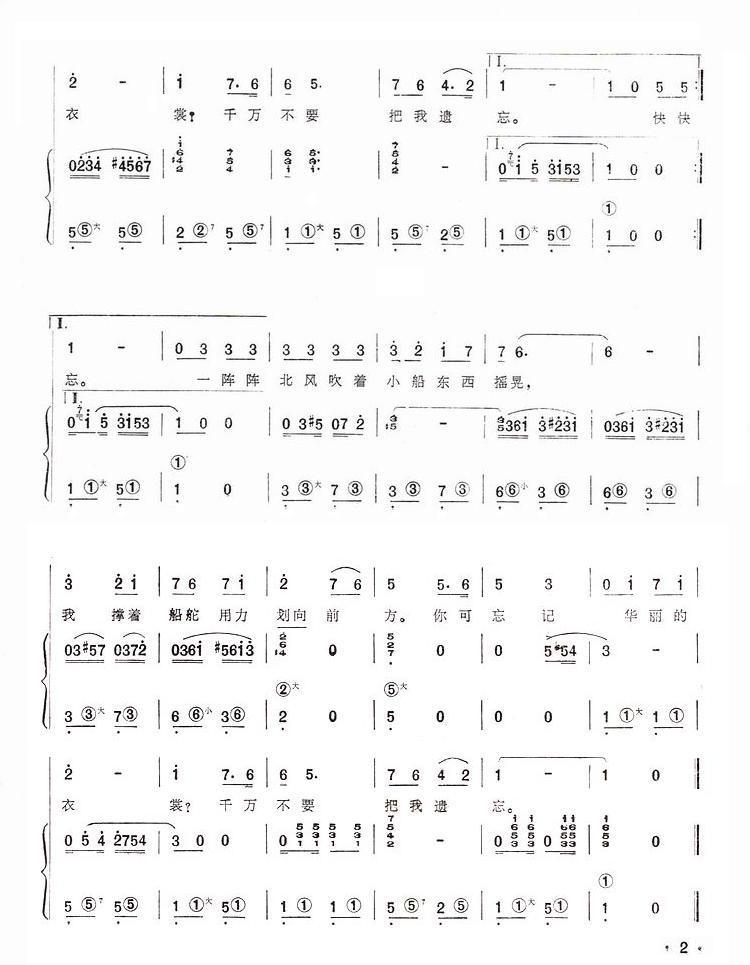 划船曲 手风琴简谱系列89