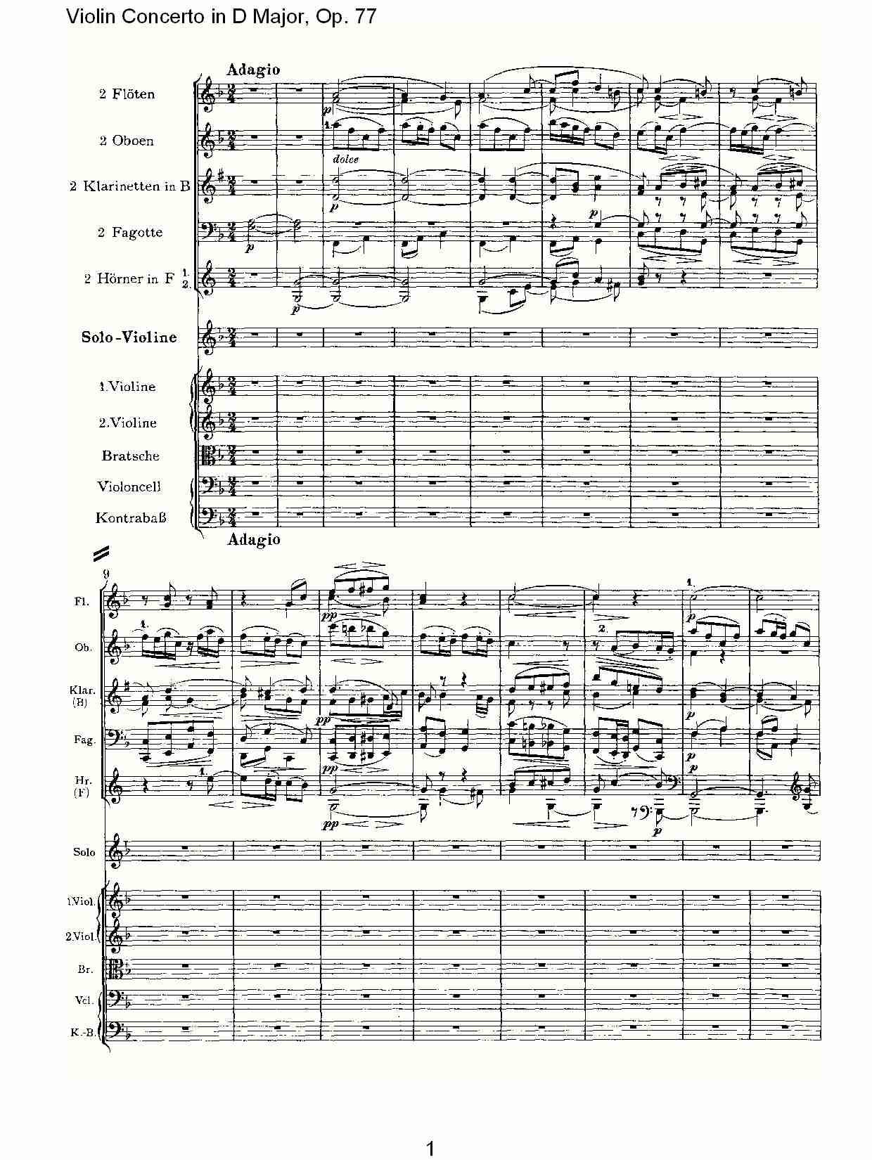 d大调小提琴协奏曲, op.77第二乐章(一)图片