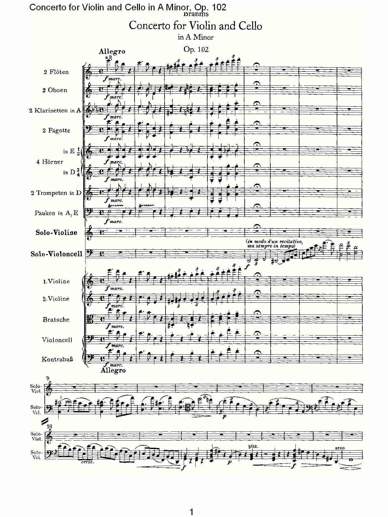 A小调小提琴与大提琴协奏曲, Op.102第一乐章 一