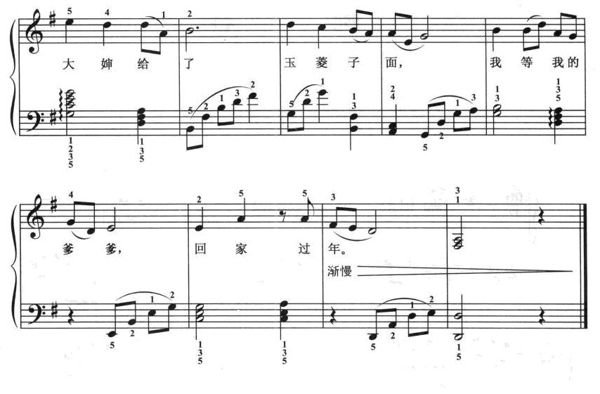 北风吹钢琴谱带指法图片 北风吹歌剧白毛女曲谱分享图片