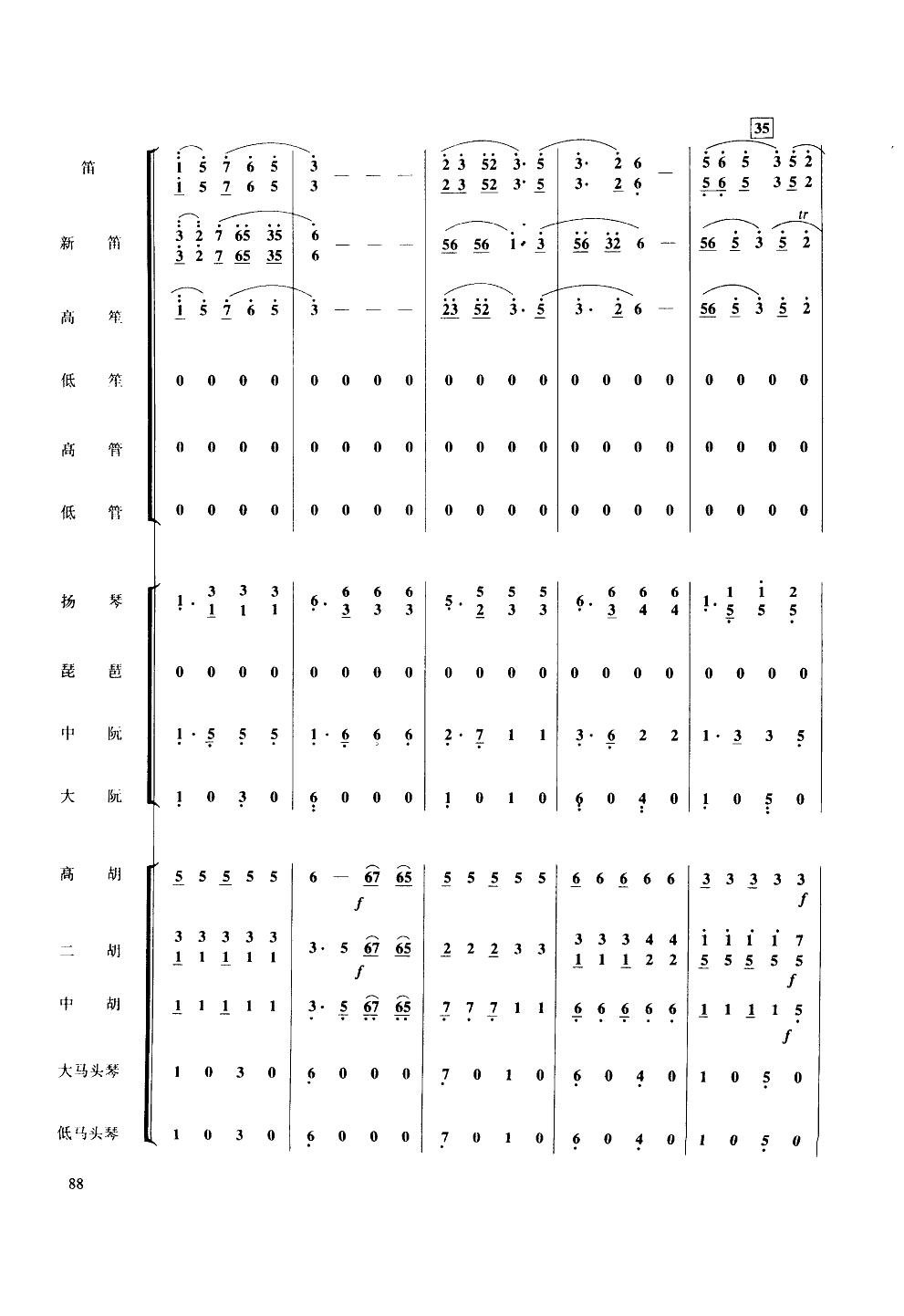 彩云追月-民乐大合奏简谱