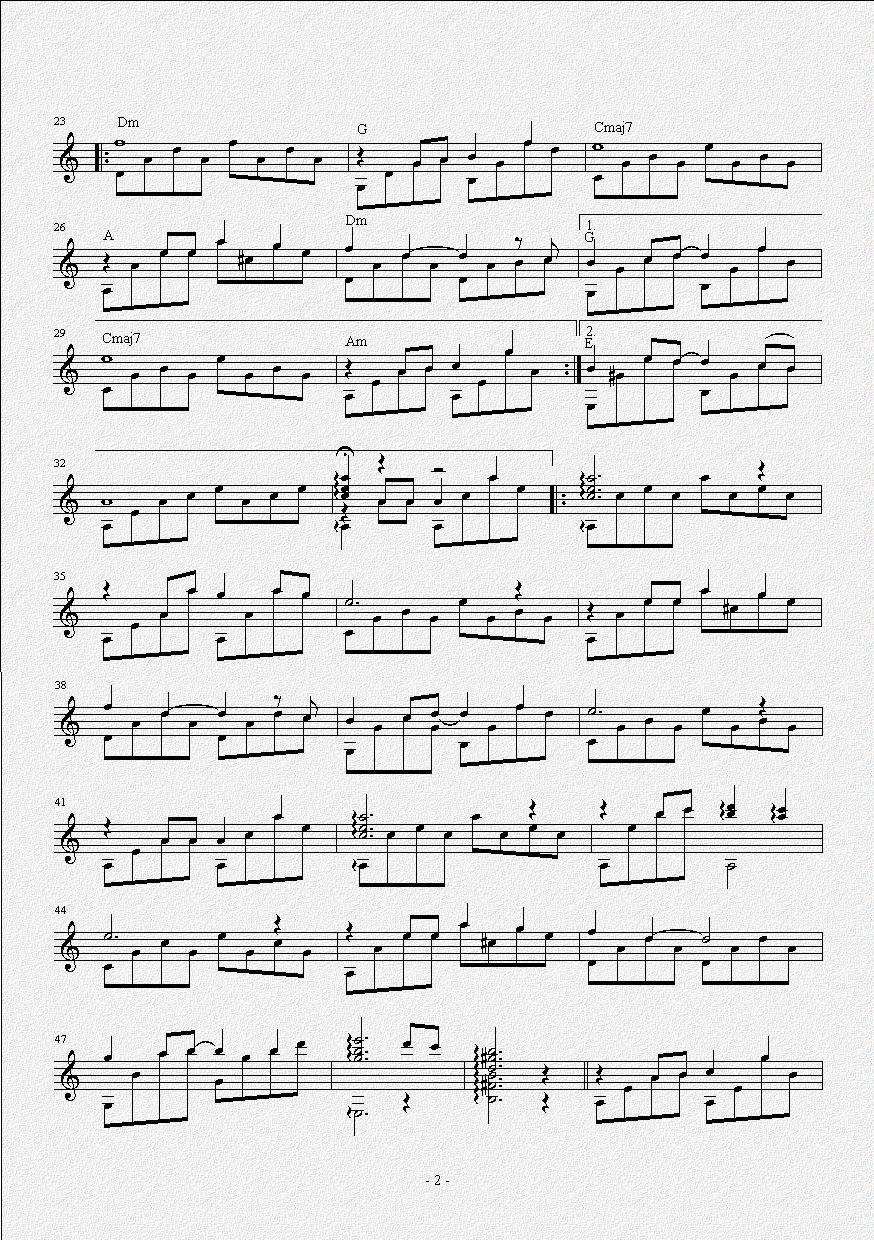 贝加尔湖畔 吉他独奏谱