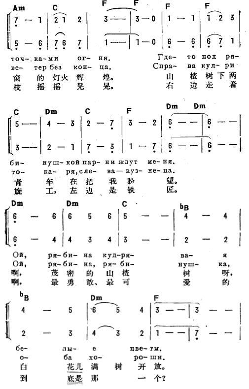山楂树(俄汉双语)2_简谱_搜谱网