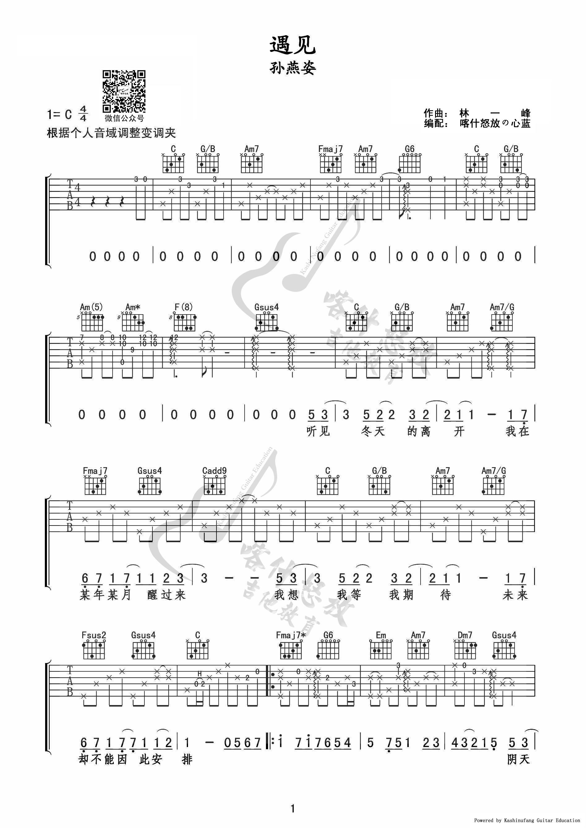 孙燕姿 遇见 弹唱吉他谱