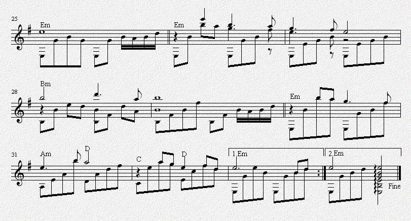 铁血丹心 吉他独奏谱 五线谱