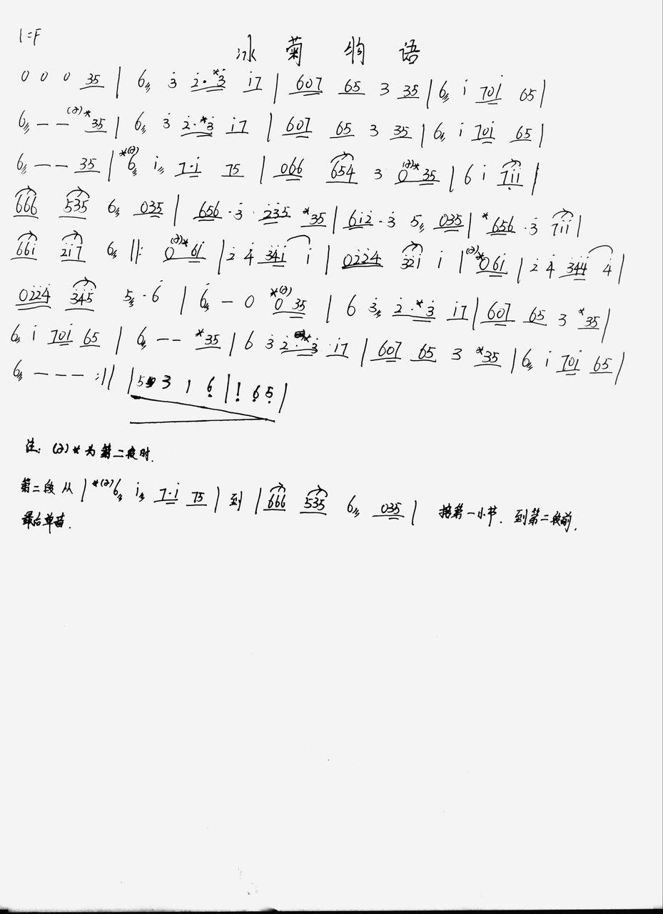 冰菊物语 古筝谱