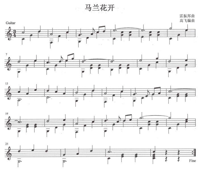 马兰花开 吉他独奏谱 五线谱