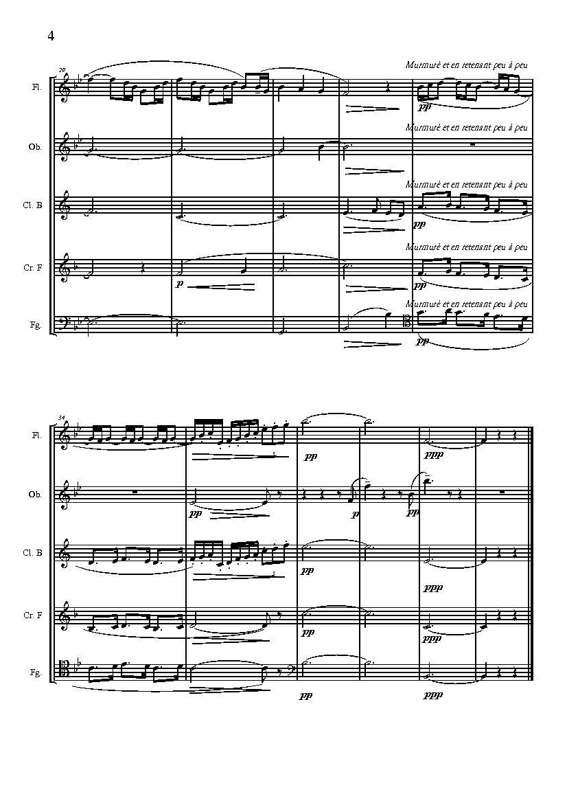 德彪西的木管五重奏乐谱 有双簧管