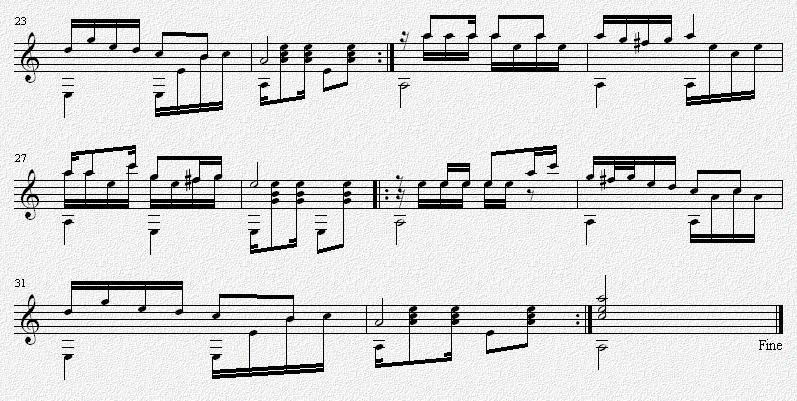 马车夫之歌 吉他独奏谱 原生态民歌 五线谱