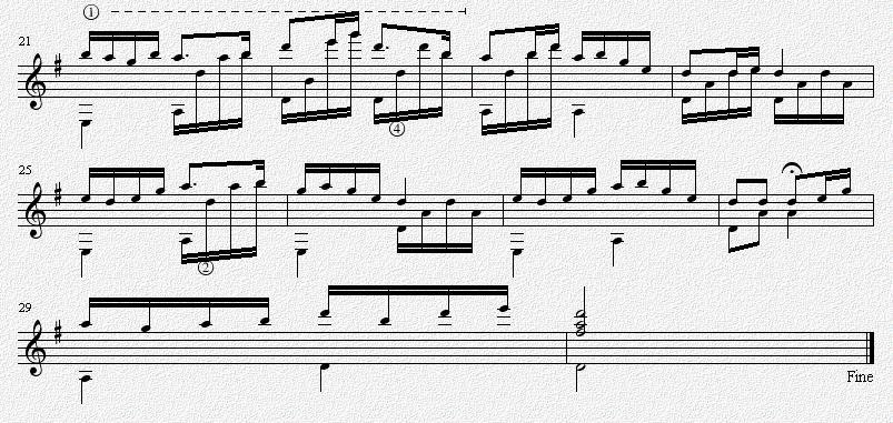 茉莉花 G调 吉他独奏谱 五线谱
