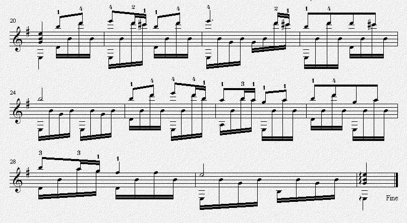 那遥远的地方 吉他独奏谱 五线谱
