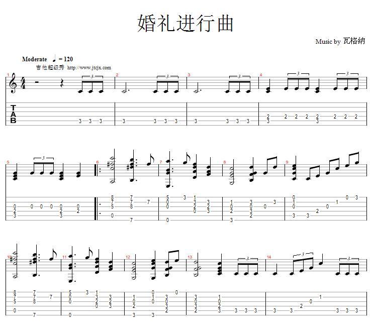 礼进行曲 二 吉他独奏谱 五线谱