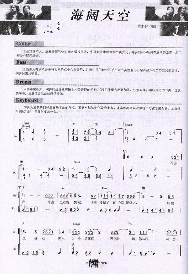 海阔天空_吉他谱_歌谱下载