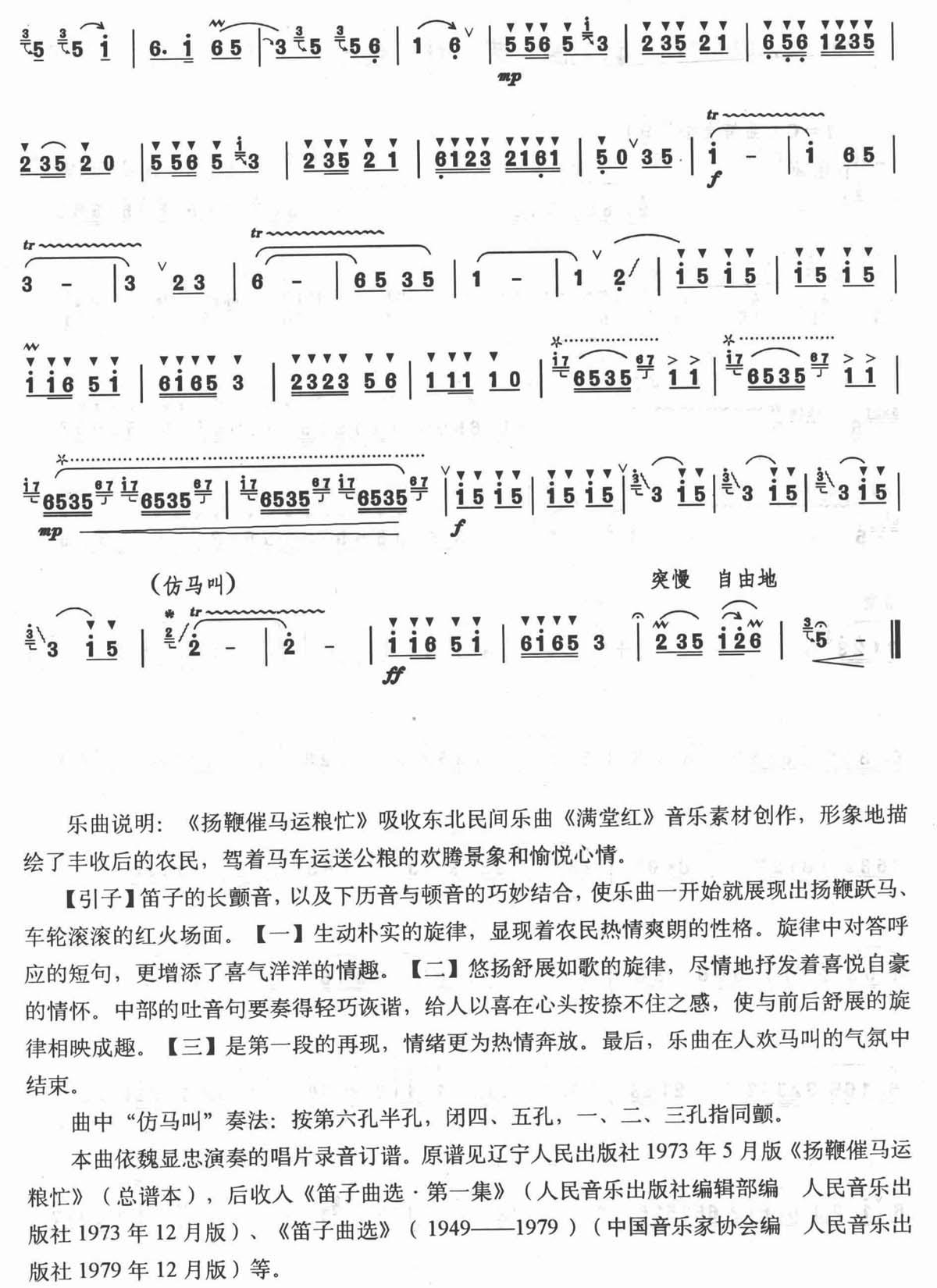 扬鞭催马运粮忙 笛子谱 高清版