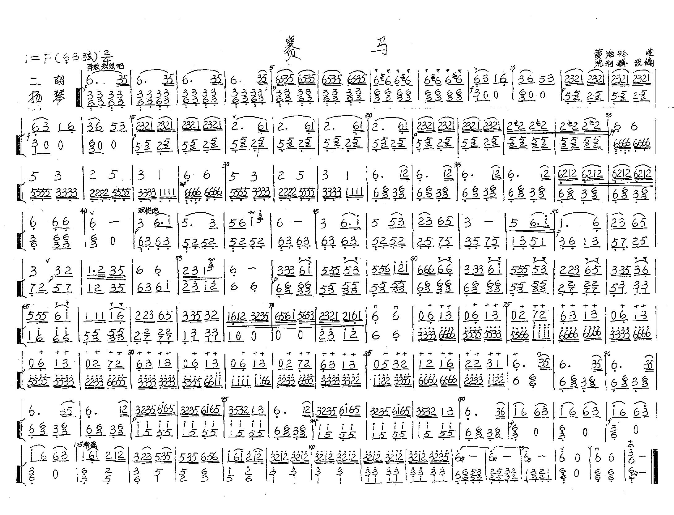 賽馬(二胡獨奏.揚琴伴奏)圖片