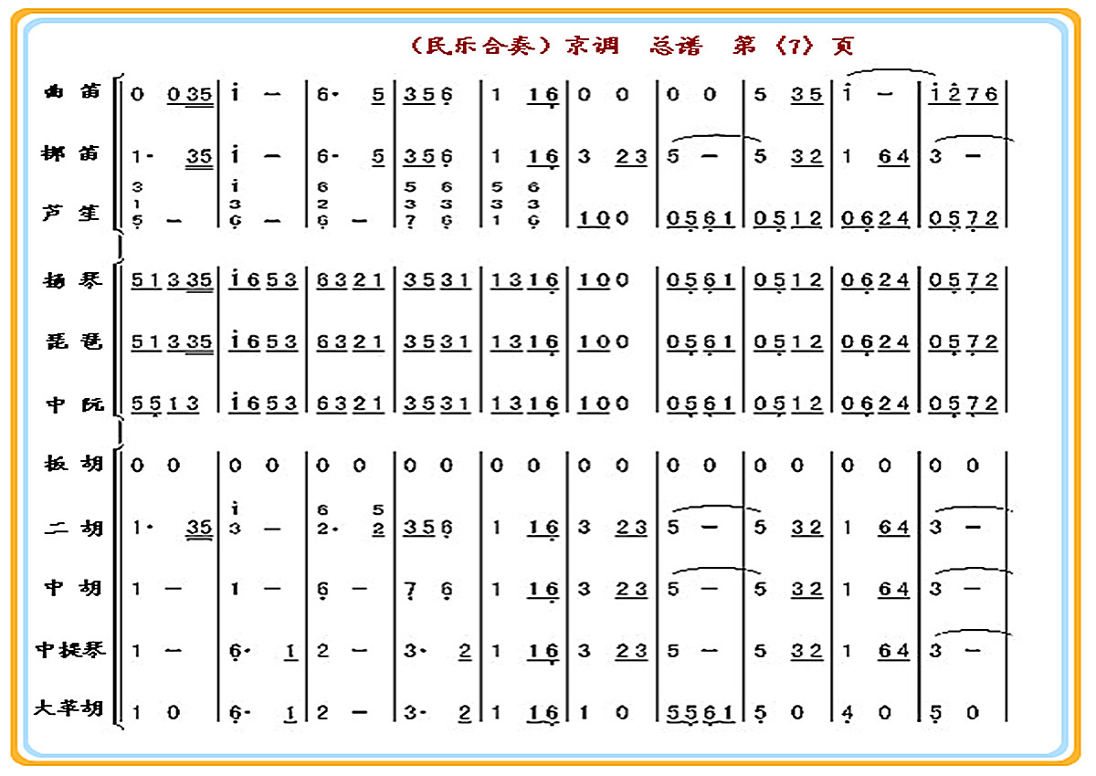 《京调(总谱)7》 简谱