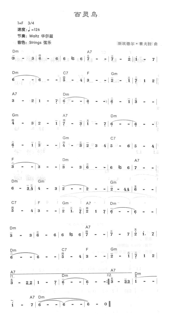 百灵鸟(电子琴)