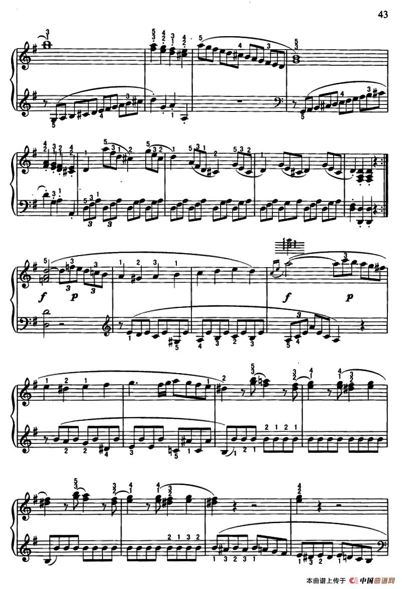 贝多芬g大调小奏鸣曲第一乐章(op.49.no.2)