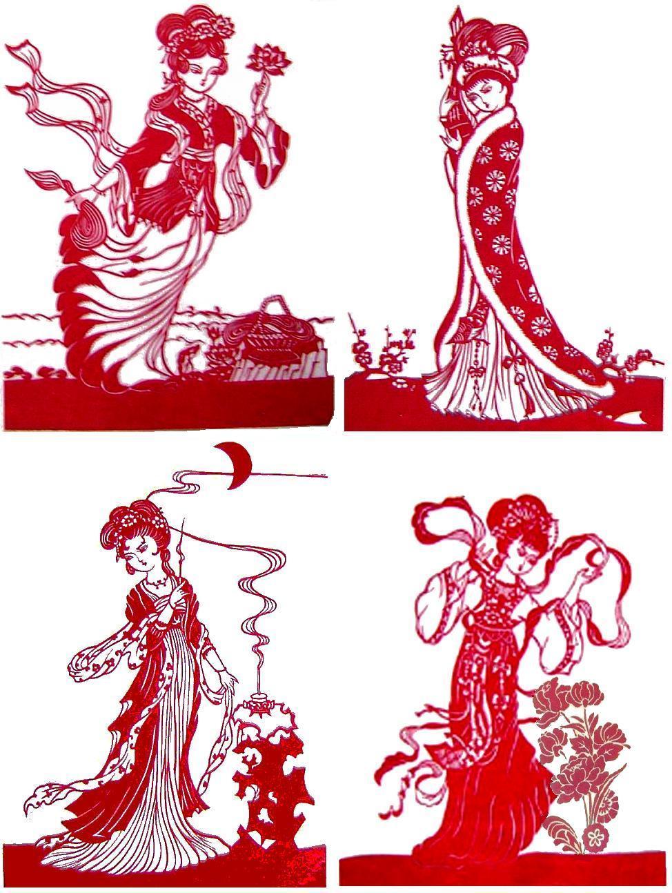 主题:精美剪纸----四大美女