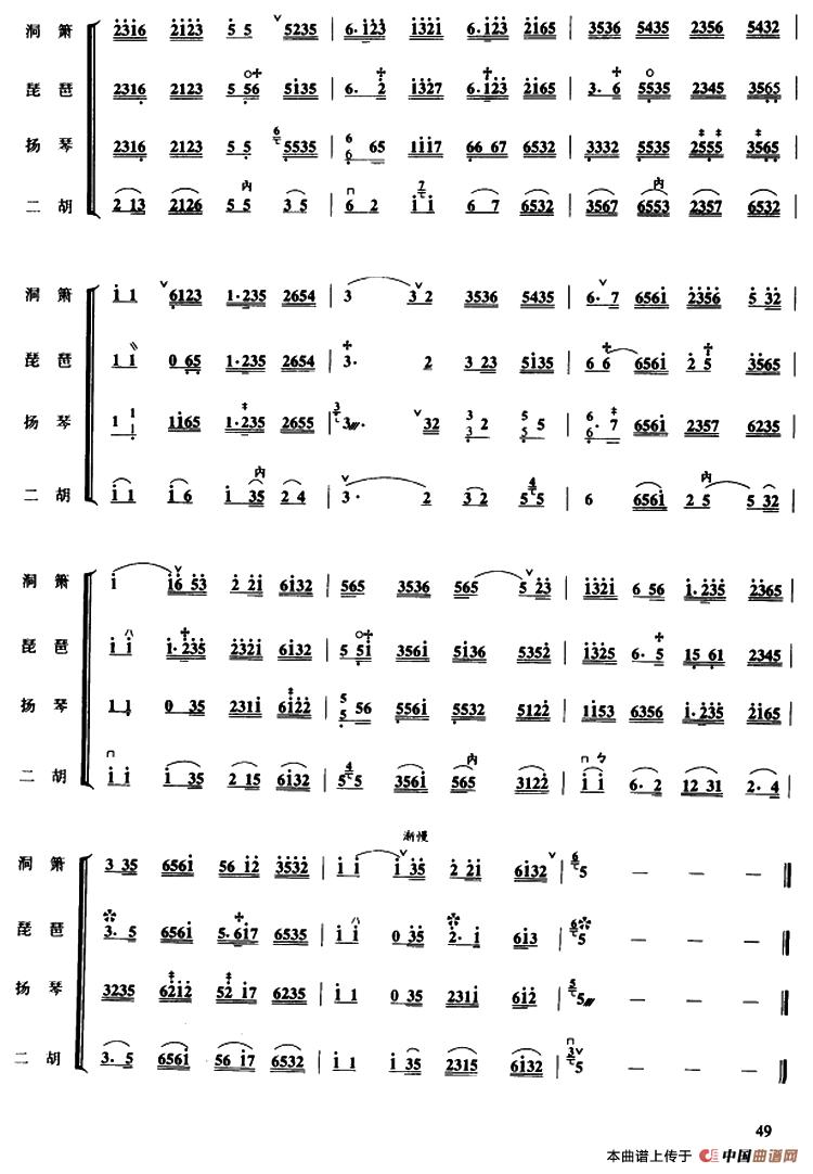 中花六板(民乐合奏)_其他曲谱_搜谱网