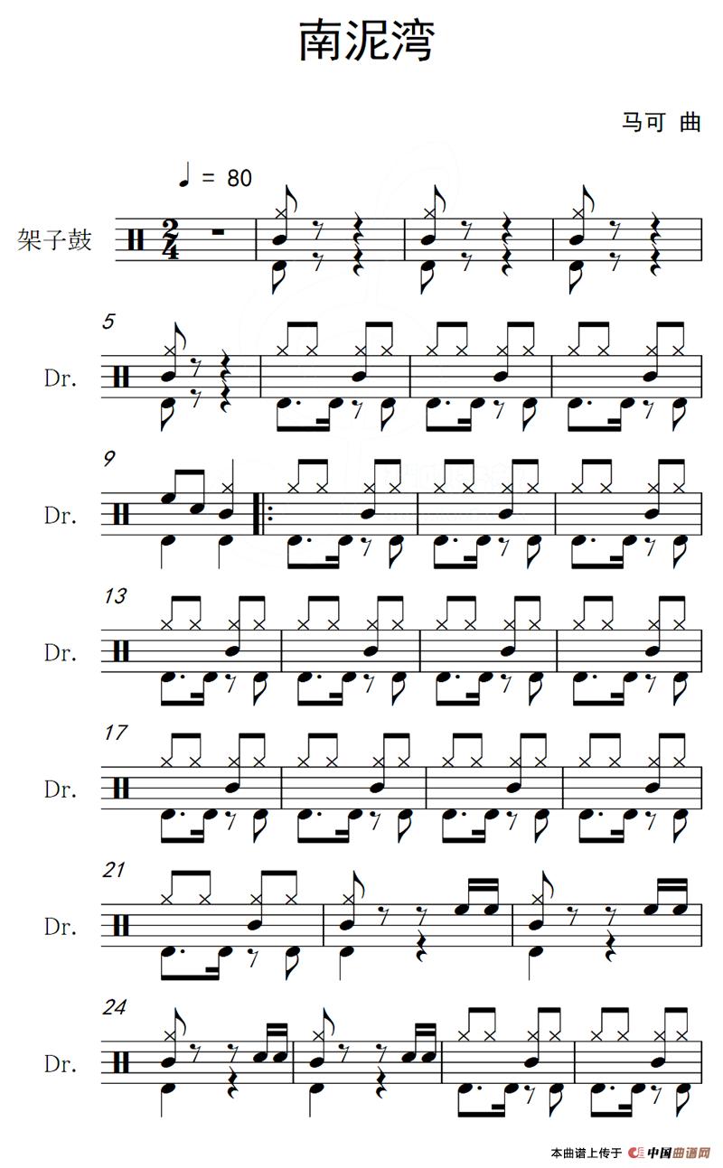 南泥湾(架子鼓谱)