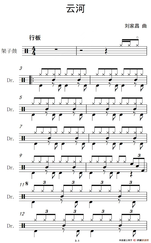 云河(架子鼓谱)