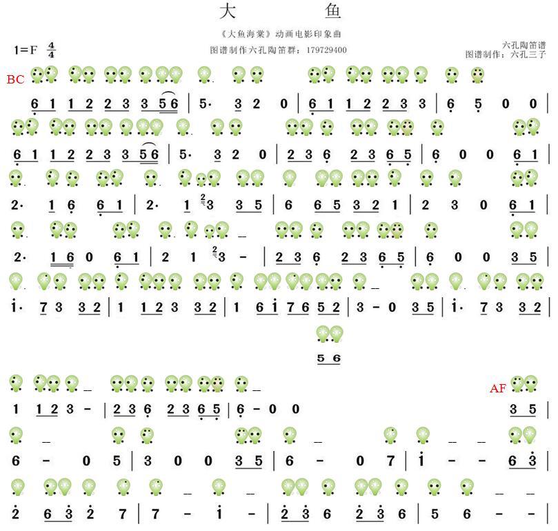 大鱼电子琴谱简谱图片