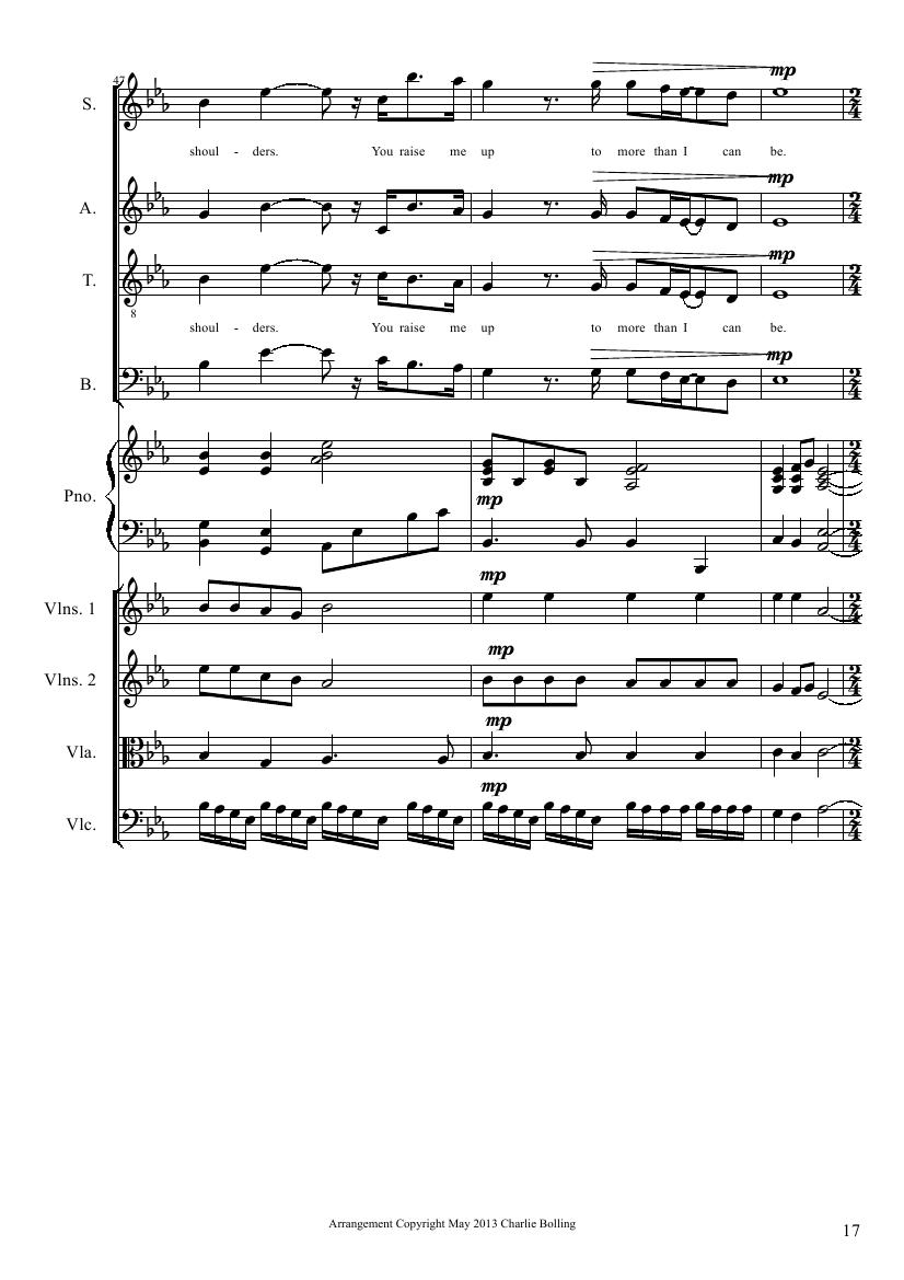 you raise me up(四部合唱钢琴和乐队)_总谱_用户传谱