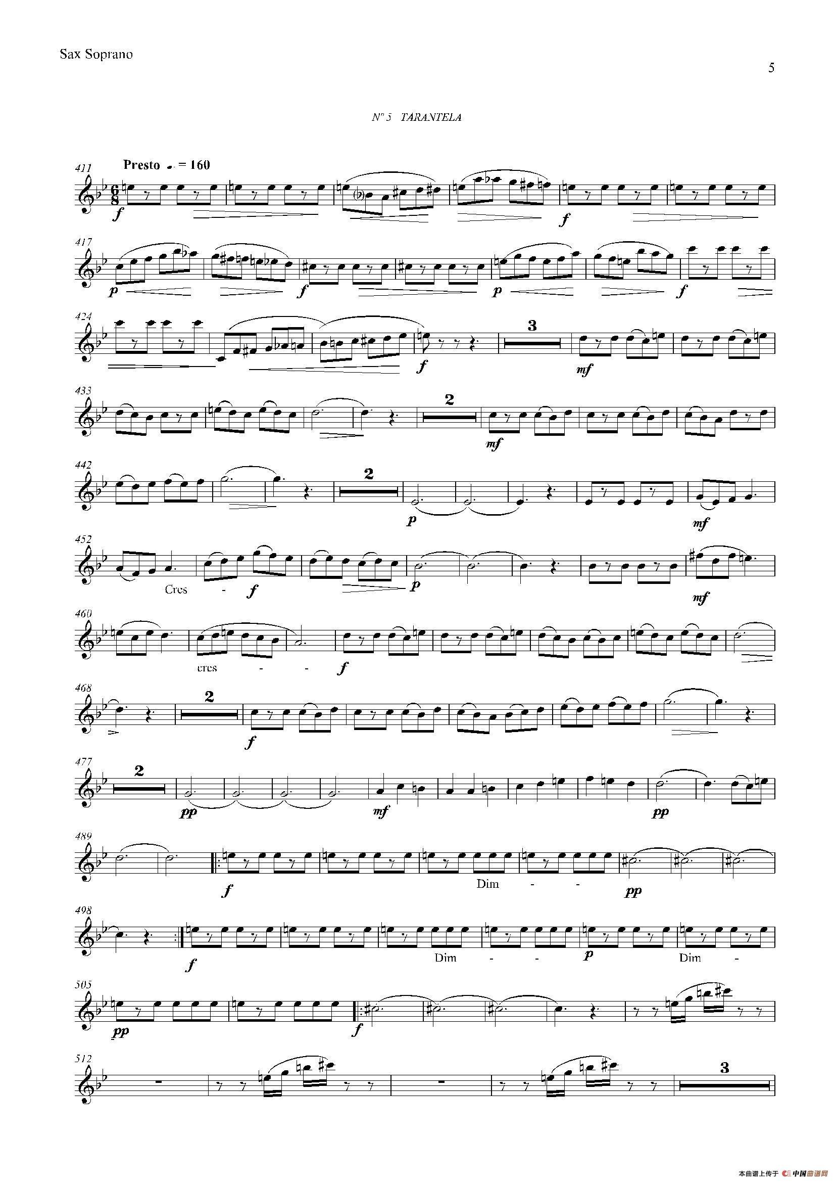 LOS 四重奏高音萨克斯分谱