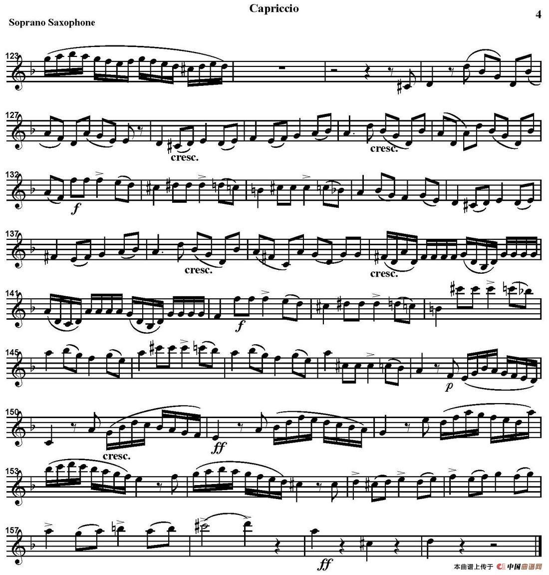 capriccio(四重奏·高音萨克斯分谱)