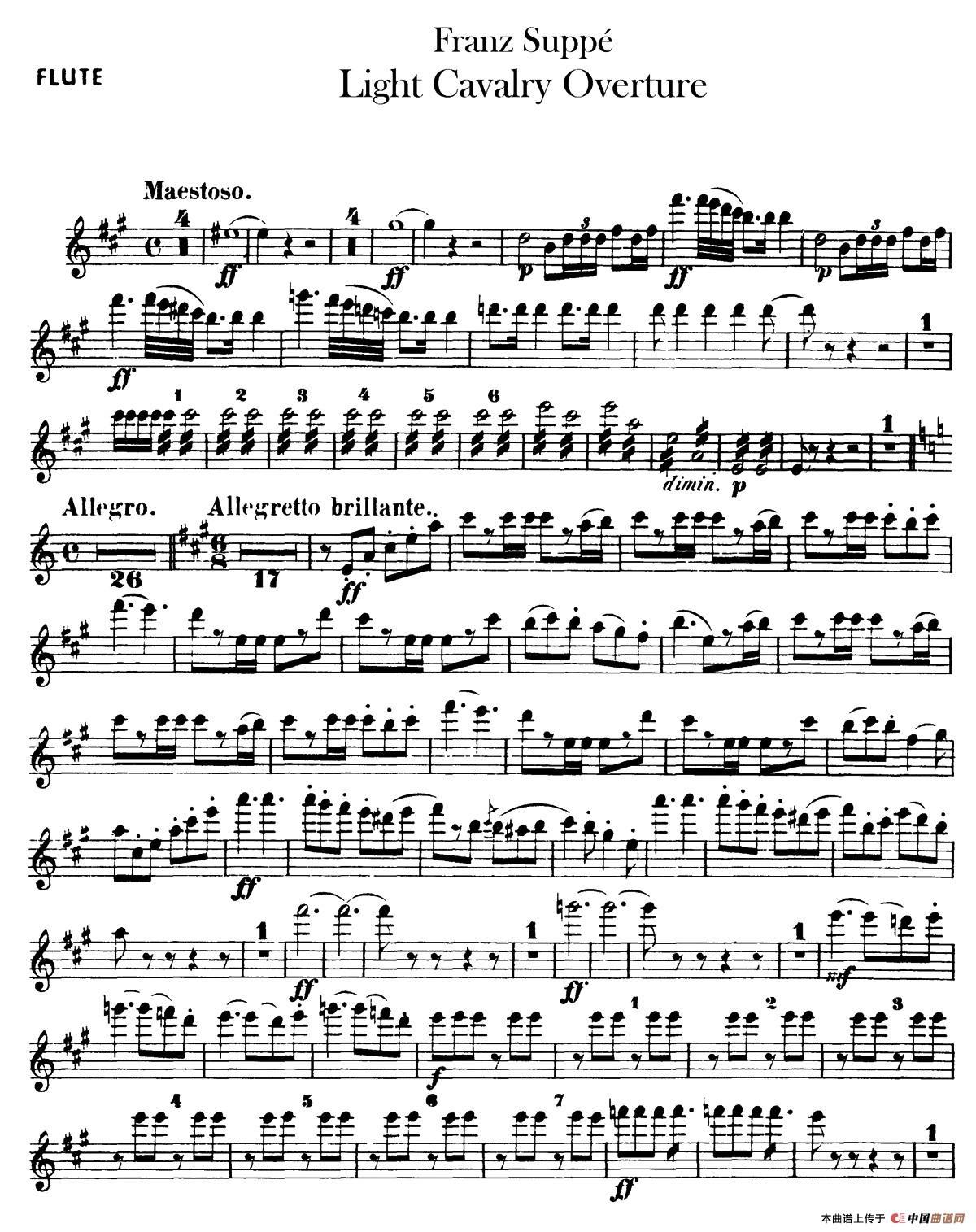 light cavalry overture(轻骑兵序曲)(管乐合奏长笛分谱)