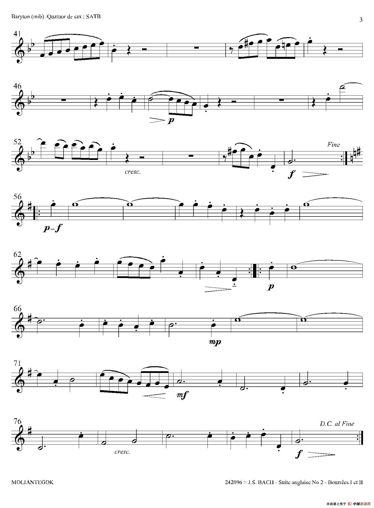 欧布奥特曼口琴曲谱-Suite anglaise No 2,BWV 807 法国组曲之二 布列舞曲 上低音萨克斯分谱