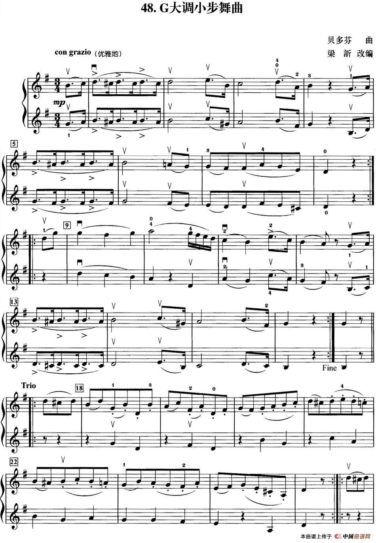 初级小提琴二重奏:g大调小步舞曲