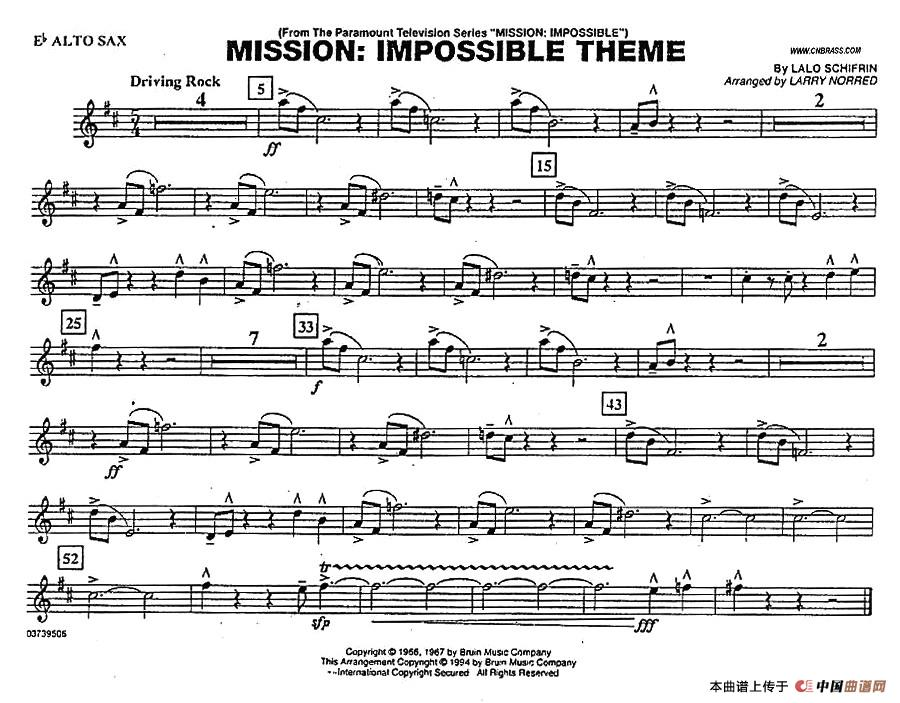 mission:impossible theme(分谱:中音萨克斯)_简谱