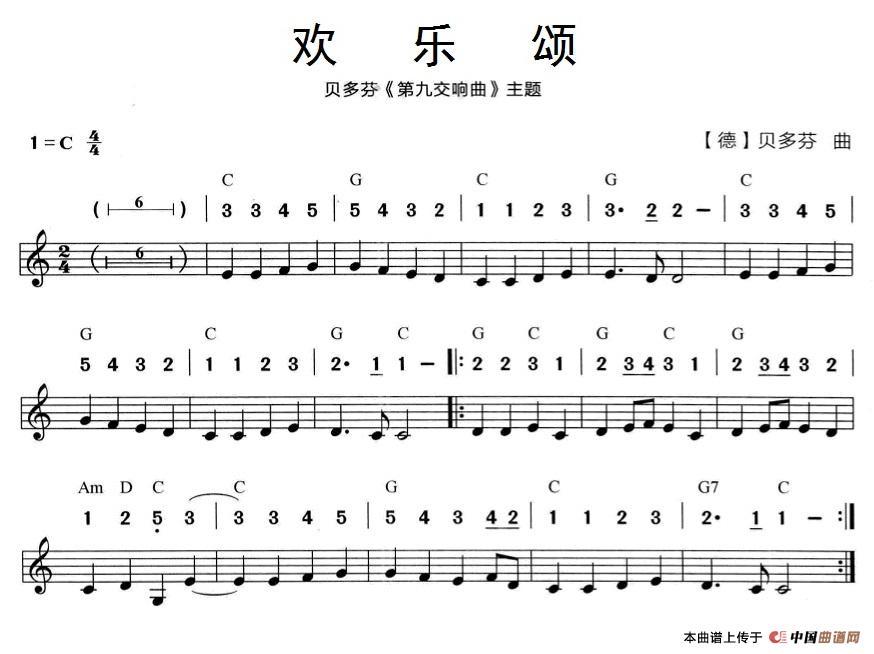 欢乐颂(贝多芬《第九交响曲》主题)(线简谱混排版)