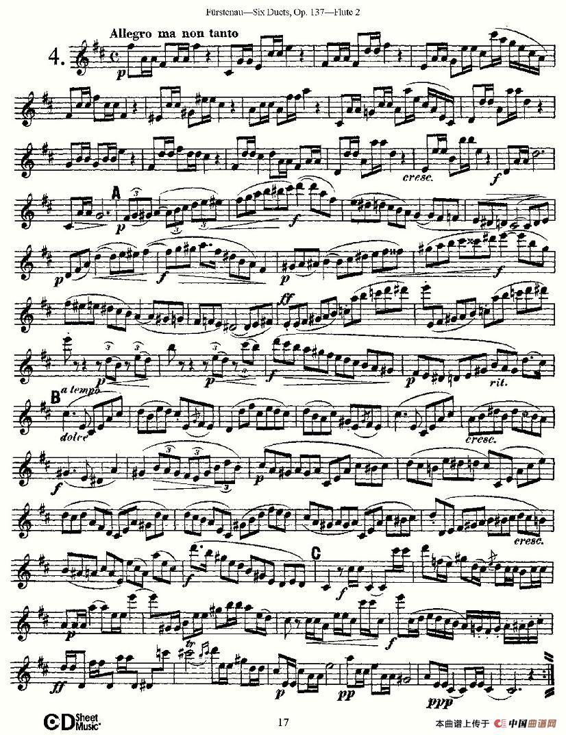 长笛萨克斯重奏谱