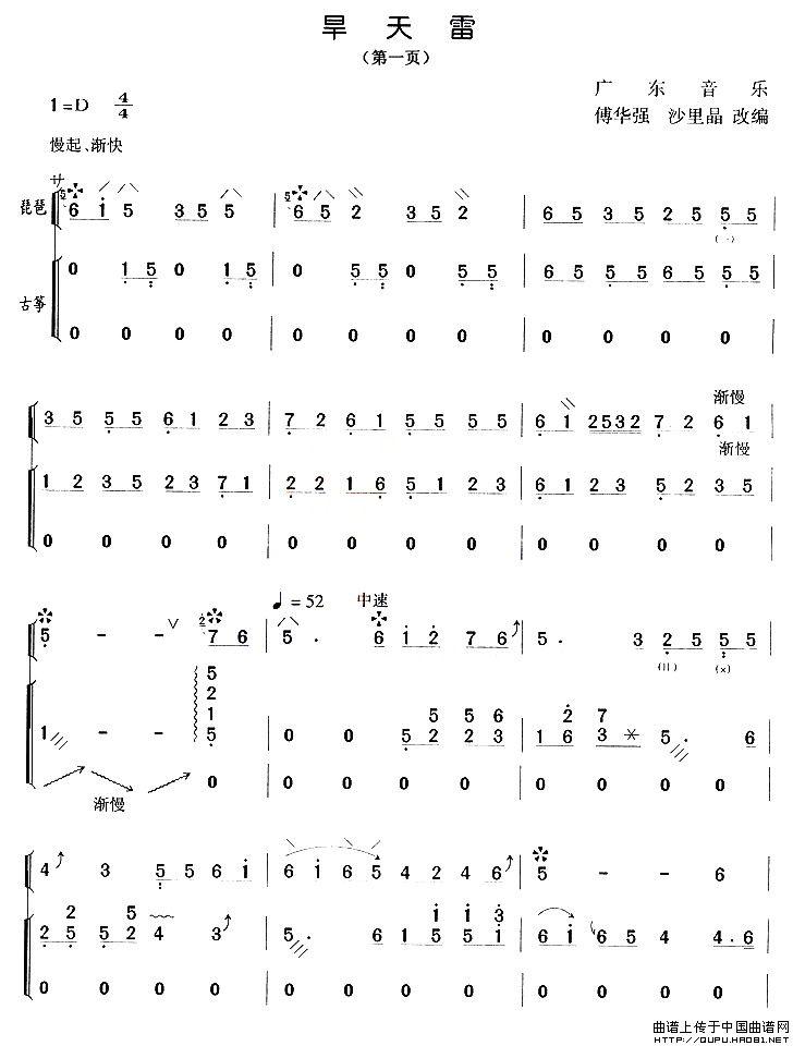 浪人琵琶小号的谱子-琵琶简谱