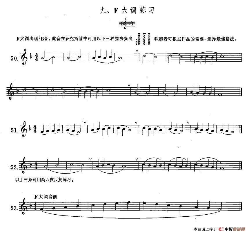 萨克斯练习曲简谱