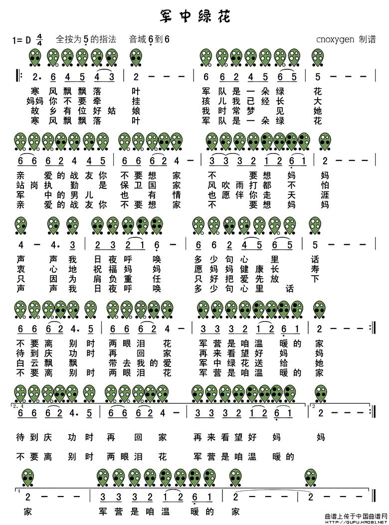 军中绿花 六孔陶笛谱 简谱高清图片