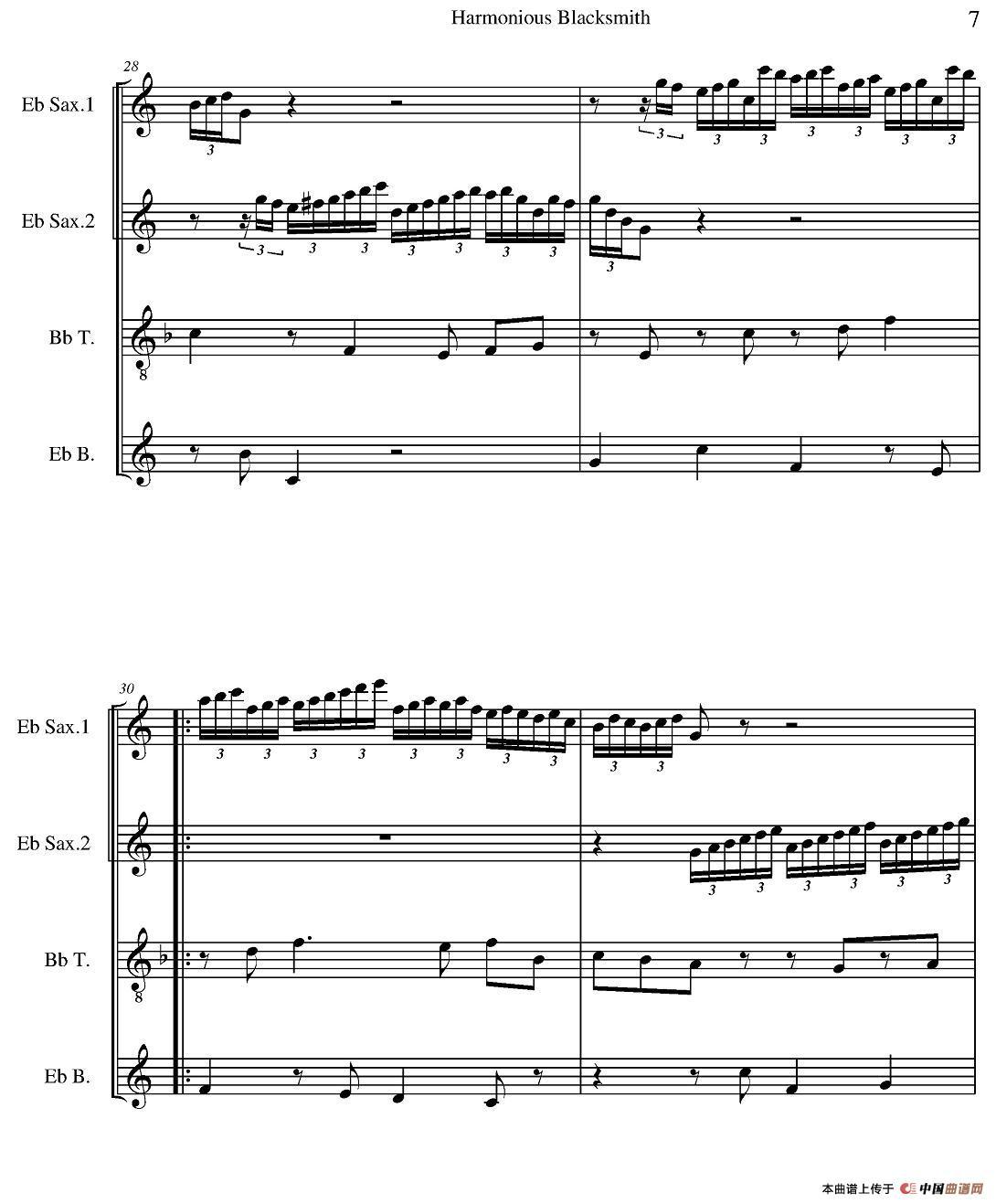 萨克斯四重奏乐谱