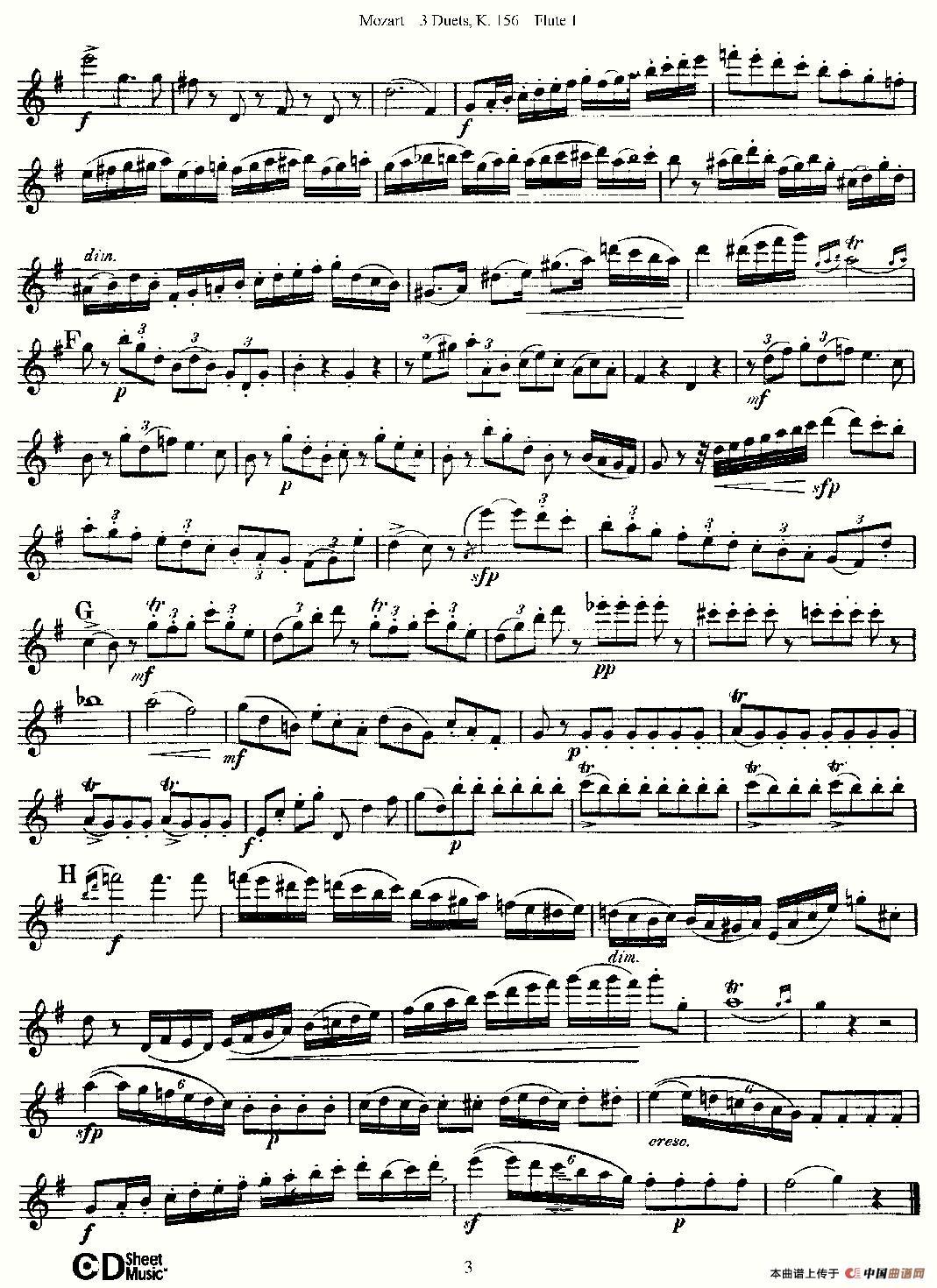 """156 之第一长笛 提示:在曲谱上按右键选择""""图片另存为"""",可以将曲谱图片"""