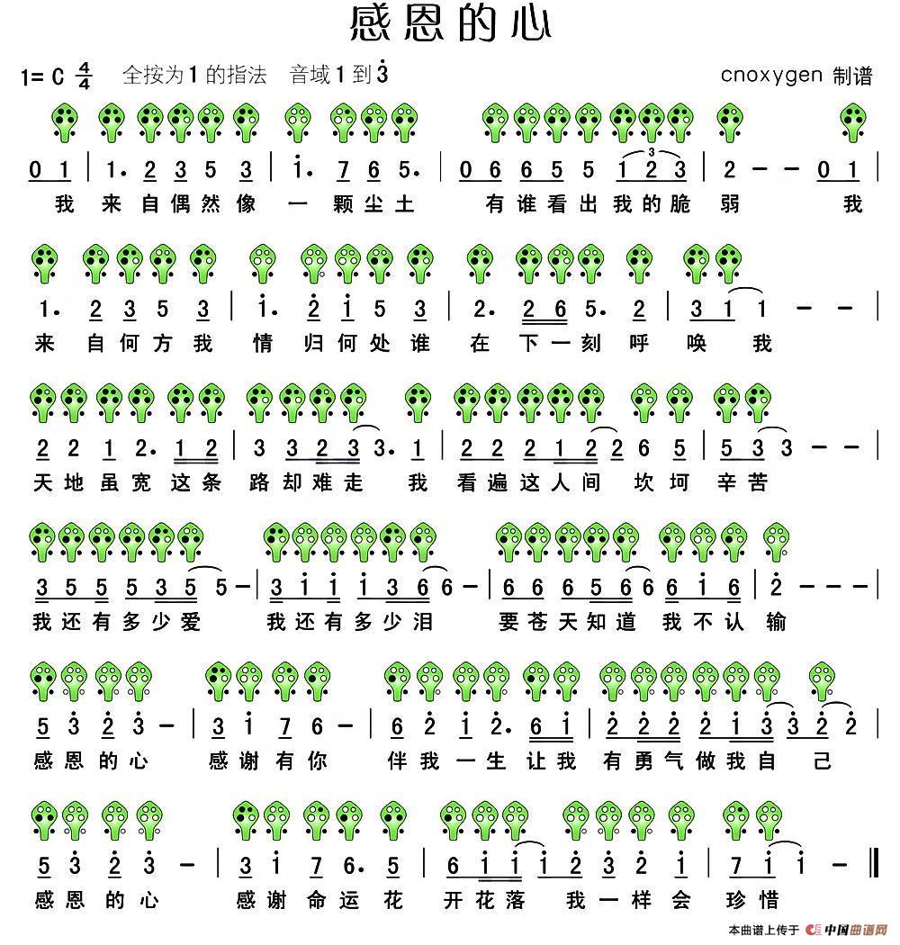 感恩的心 六孔陶笛谱 1 原文件名 感恩的心.jpg高清图片
