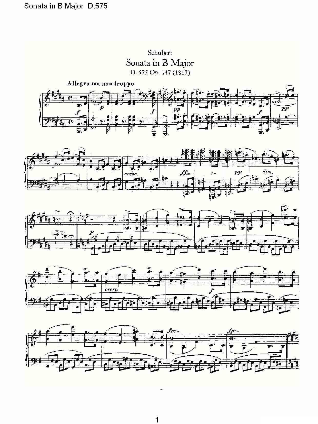 575(b大调奏鸣曲 d.575)