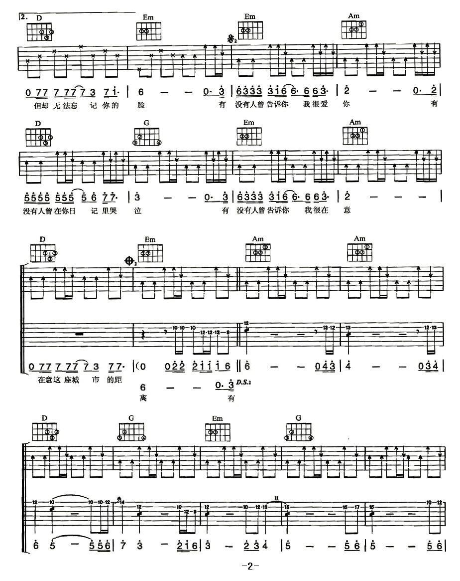 有没有人告诉你_吉他谱