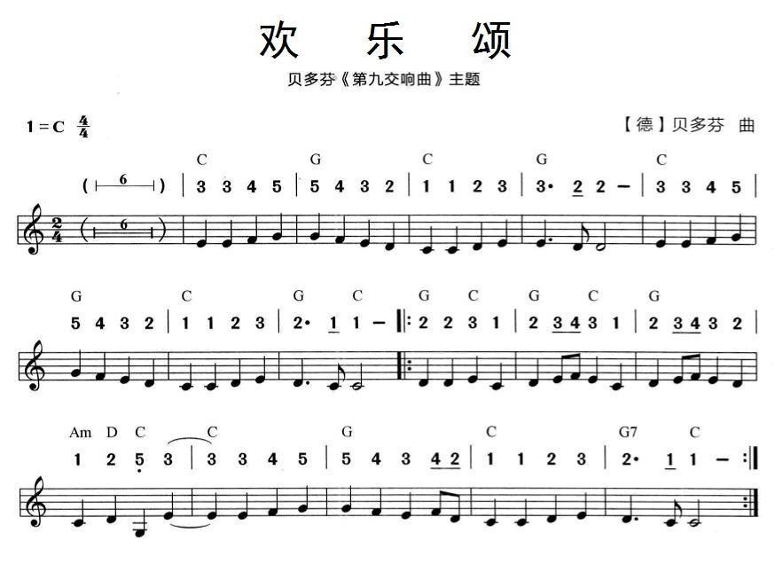 《欢乐颂》 口琴谱