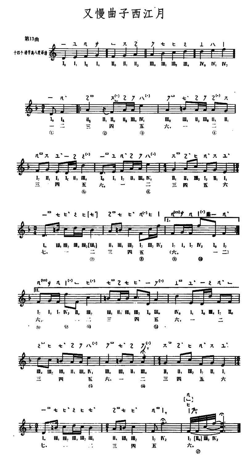 又慢曲子西江月 敦煌琵琶曲谱 第13曲 -又慢曲子西江月
