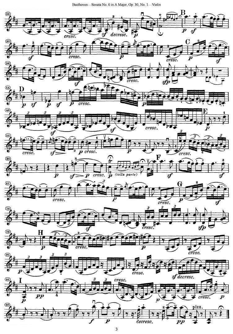 《贝多芬第六号奏鸣曲a大调》 小提琴谱
