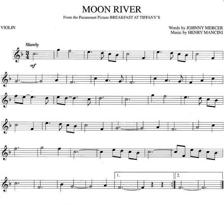 《moon river(月亮河)》 小提琴谱