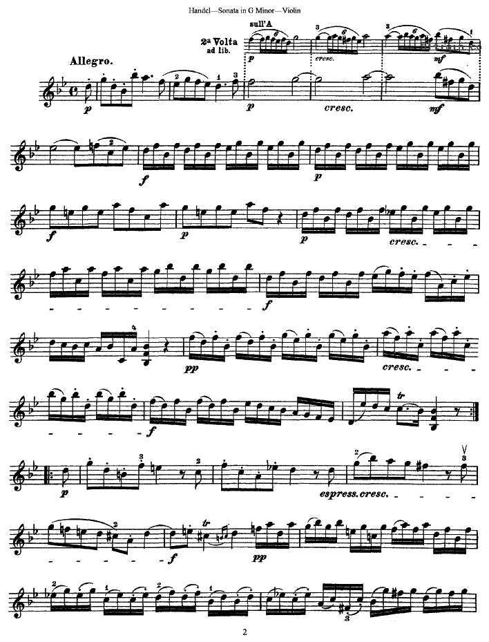 亨德尔g小调小提琴奏鸣曲